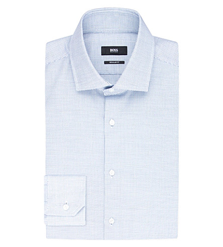 BOSS Regular-fit cotton shirt (Turquoise/aqua