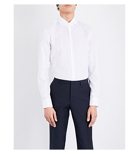 BOSS Slim-fit cotton shirt (White