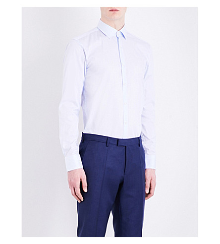 BOSS striped slim-fit cotton shirt (Light/pastel+blue