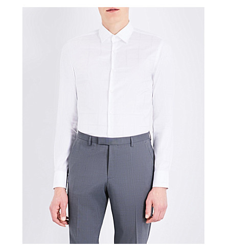 BOSS BLACK FORMAL Grid-print slim-fit cotton shirt (White
