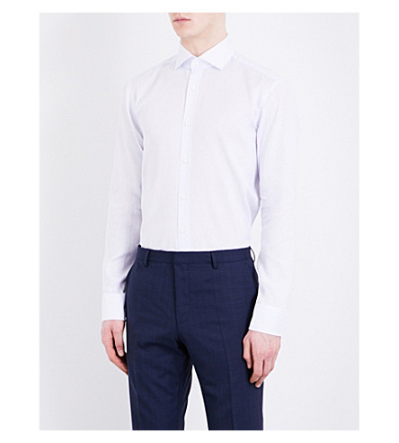 BOSS Pinstripe slim-fit cotton and linen-blend shirt (Light/pastel+blue