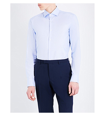 BOSS Ditsy geometric-print slim-fit cottton shirt (Bright+blue