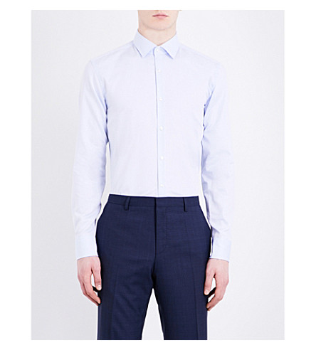 BOSS BLACK FORMAL Ditsy-spot slim-fit cotton shirt (Light/pastel+blue