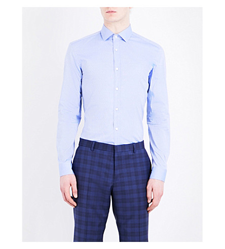 BOSS Micro-dot slim-fit cotton shirt (Medium+blue