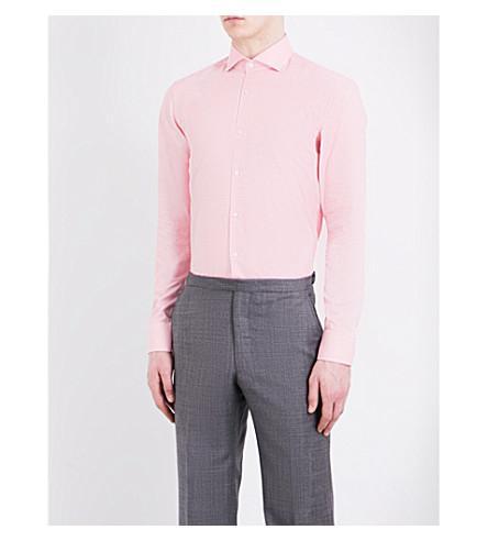 BOSS 几何印花修身版型棉衬衫 (中 + 红)