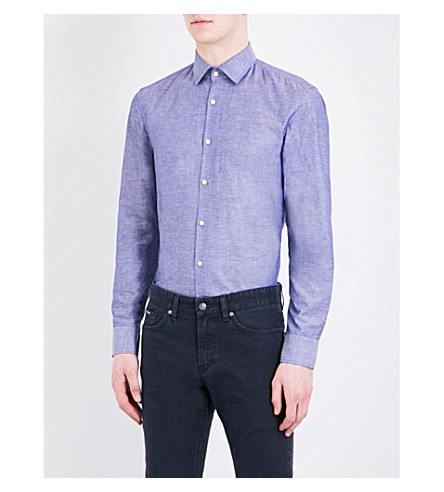 BOSS Slim-fit cotton and linen-blend shirt (Navy