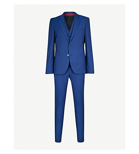 HUGO Tailored-fit wool suit (Bright+blue