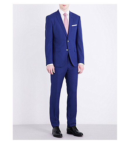 BOSS BLACK FORMAL Slim-fit wool suit (Medium+blue