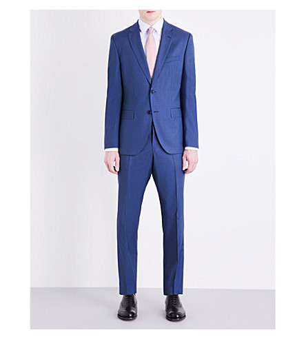 BOSS Pinstriped regular-fit wool suit (Medium+blue