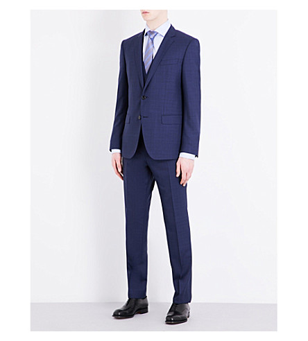BOSS Slim-fit pure-wool suit (Dark+blue