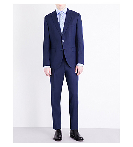 BOSS Textured regular-fit wool-blend suit (Dark+blue