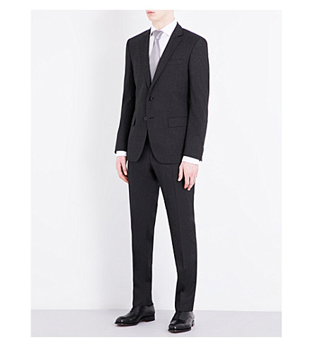 BOSS Textured slim-fit wool-blend suit (Black
