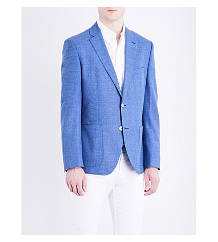 BOSS Textured weave slim-fit wool jacket (Turquoise/aqua