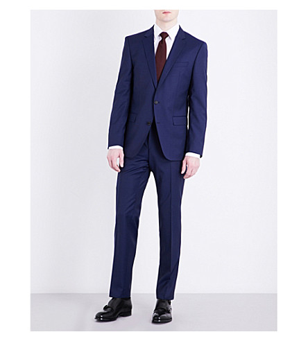 BOSS Slim-fit wool and silk-blend suit (Navy
