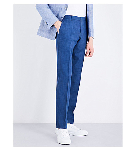 BOSS Straight-leg high-rise wool trousers (Bright+blue