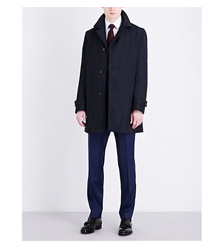 BOSS Notch lapel shell coat (Medium+blue