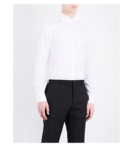 BOSS Textured slim-fit cotton shirt (White