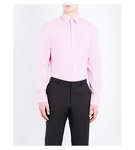 BOSS Micro-check pattern slim-fit cotton shirt (Light/pastel+pink