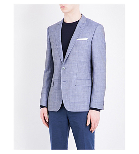 BOSS Slim-fit wool and linen-blend jacket (Bright+blue
