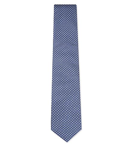 BOSS Two-tone diamonds silk tie (Navy