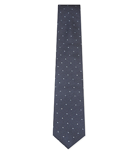 BOSS Squares silk tie (Light/pastel+blue