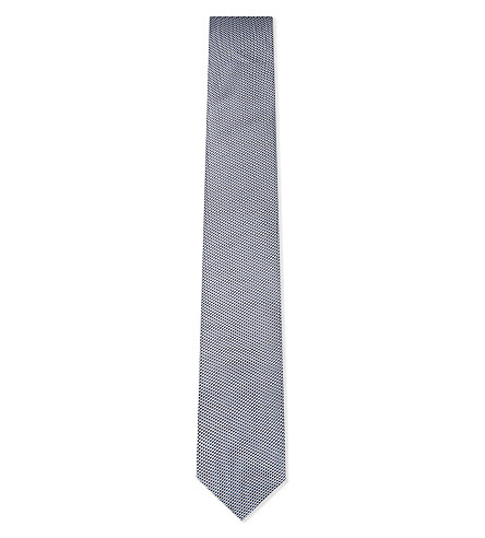 BOSS Diamond weave silk tie (Navy