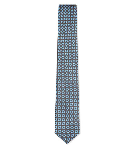 BOSS Circle pattern silk tie (Light/pastel+blue