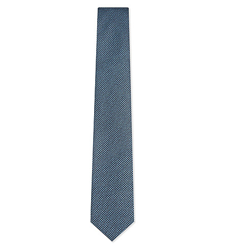 BOSS Dotted silk tie (Light/pastel+blue