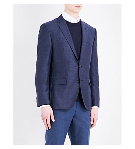 BOSS Elbow-pad slim-fit pure-wool jacket (Dark+blue