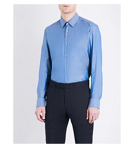 BOSS Regular-fit cotton shirt (Turquoise/aqua