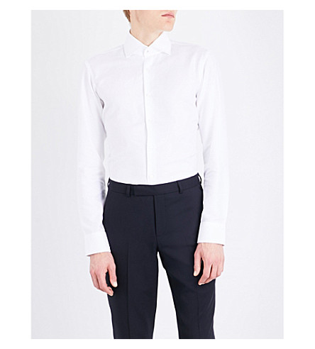 BOSS Hopsack-weave regular-fit cotton shirt (White