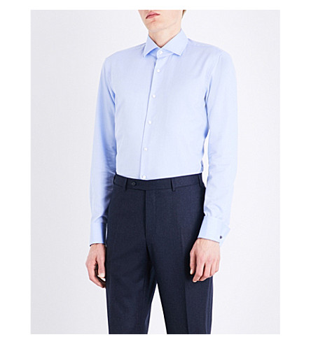 BOSS Regular-fit double-cuff cotton shirt (Light/pastel+blue