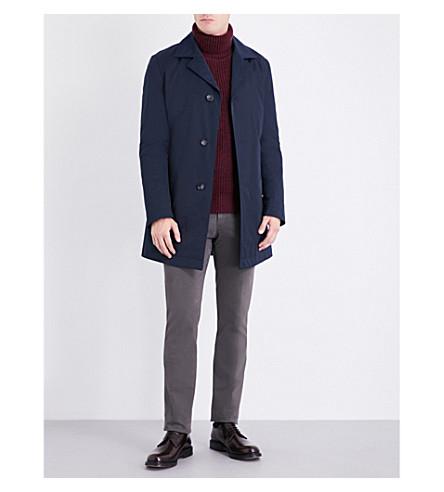 BOSS Water-repellent twill coat (Navy