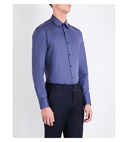BOSS Geometric-pattern slim-fit cotton shirt (Navy