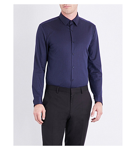 BOSS Geometric slim-fit cotton shirt (Navy