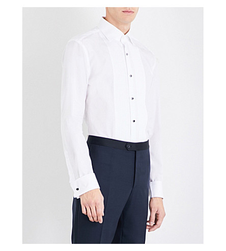 BOSS Pleated-panel slim-fit cotton shirt (White