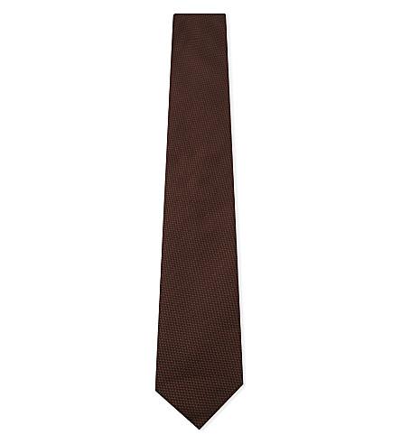 BOSS Textured silk tie (Medium+brown