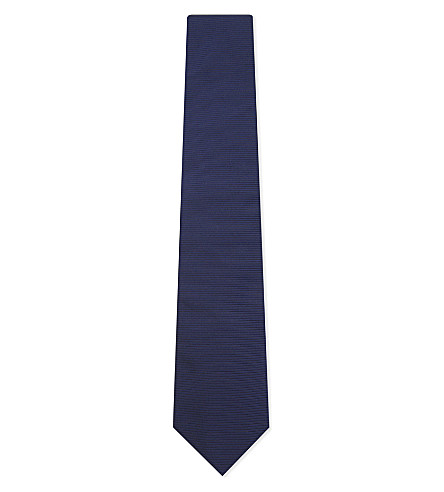 BOSS Striped texture silk tie (Turquoise/aqua