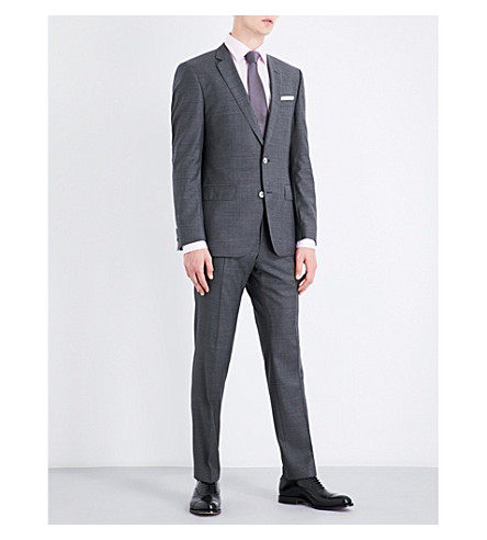 BOSS Slim-fit wool suit (Dark+grey