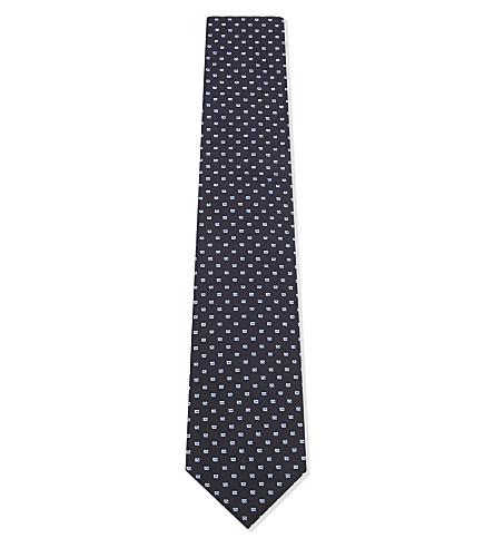 BOSS 方形花纹真丝领带 (黑色