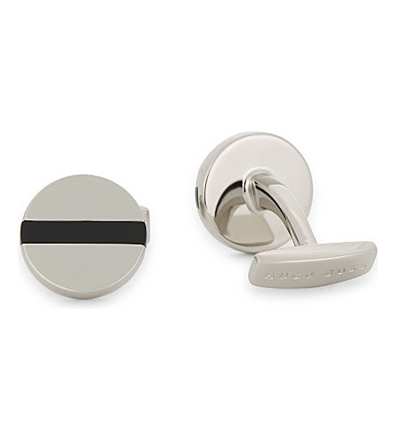 BOSS Enamel detail cufflinks (Black