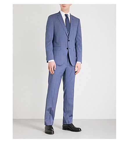 BOSS Tailored-fit three-piece wool suit (Bright+blue