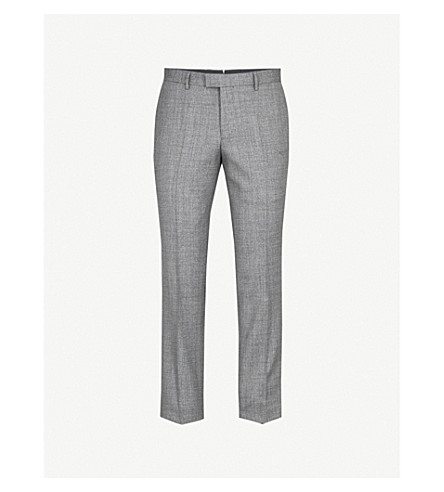 BOSS Tailored-fit tapered wool trousers (Dark+grey