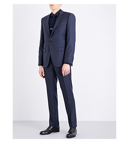 BOSS Windowpane-check tailored-fit wool-blend suit (Navy