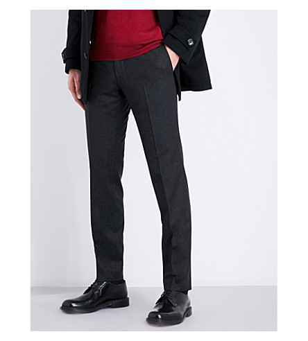BOSS Slim-fit tapered wool trousers (Charcoal