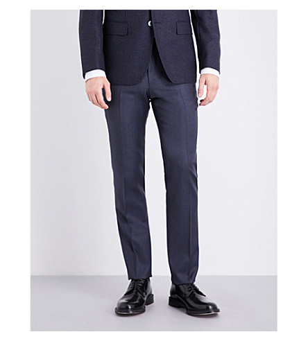 BOSS Slim-fit tapered wool trousers (Dark+blue