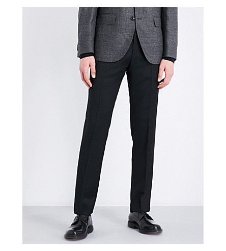 BOSS Slim-fit tapered wool trousers (Black