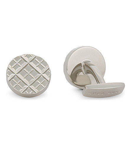 BOSS Grid pattern cufflinks (Silver