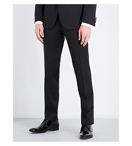 BOSS Regular-fit wool and satin trousers (Black