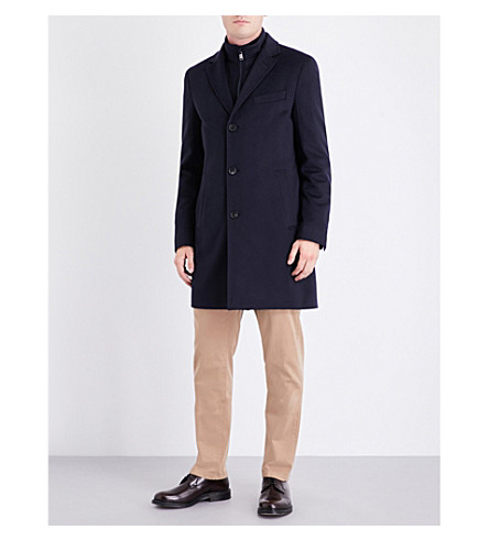 BOSS Water-repellent double-layered wool and cashmere-blend coat (Dark+blue